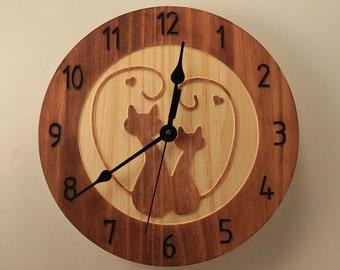 Pine kitty love clock Cat clock Wall clock Wood clock Wooden wall clock Cat love Decorative clock Animal clock Wooden love Romantic gift