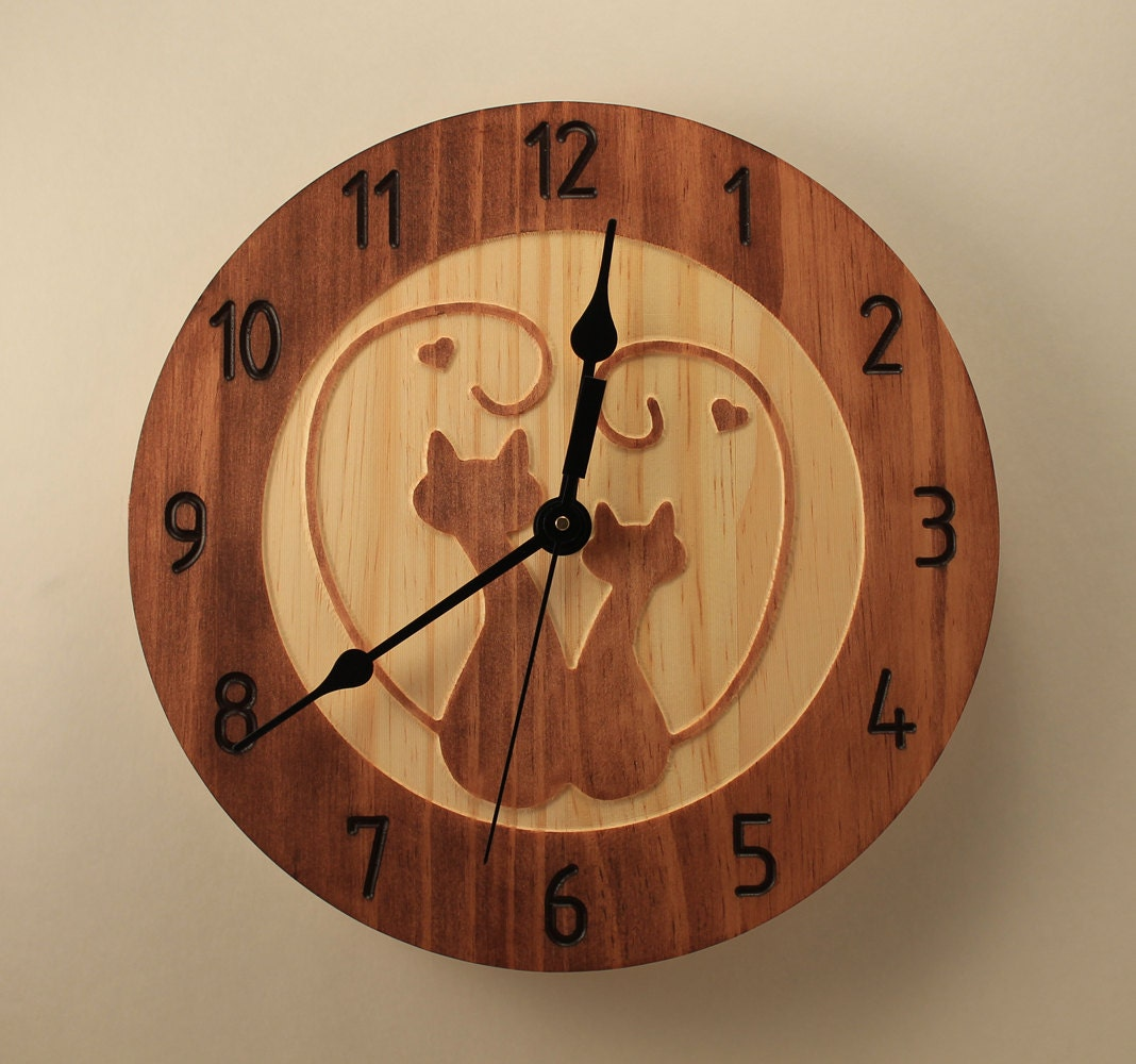 Pine kitty love clock cat clock wall clock wood clock wooden - Kitty cat clock ...