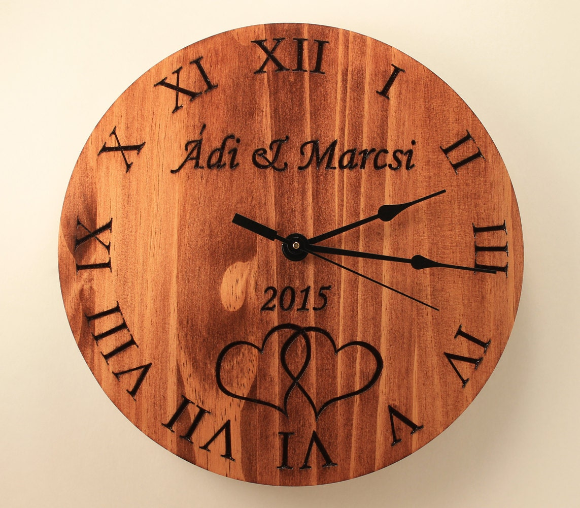 Pine Personalized wedding clock Custom anniversary clock Wood
