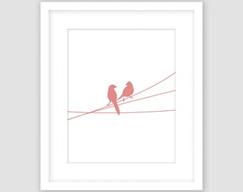 Birds on a Wire Print, White and Coral, Animal Wall Art, Modern Art, Instant Download, DIY, Printable
