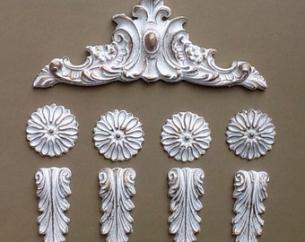 Set of furniture appliques furniture embellishments shabby chic upcycling pediment flowers and leaves