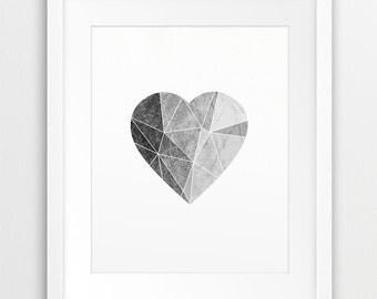 Heart Geometric Printable Art, Heart Print, Abstract Art, Grey Heart, Neutral Grey Texture, Black White Decor, Modern Wall Art Downloadable