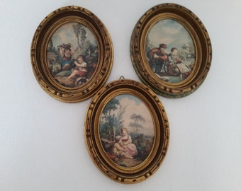 3 vintage french satin wooden frame.