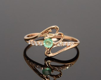 Emerald ring, Gold emerald ring, Green stone ring, Twig ring, Fine ring, Gemstone ring, Elegant gold ring, May birthstone