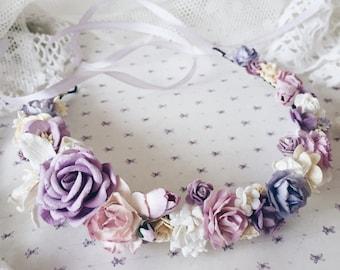 Floral crown, Bridal crown, bridal flower crown,purple hair wreath, purple flower crown,purple floral crown, Maternity Photo Shoot