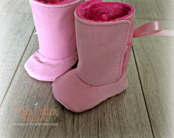 Corduroy and Cuddle Pink Baby Boots w/FREE Paci Clip- Go Pink - Baby Booties - Baby Shoes - Baby Girl Shoes - Cuddle Boots -Pink Paci Clip