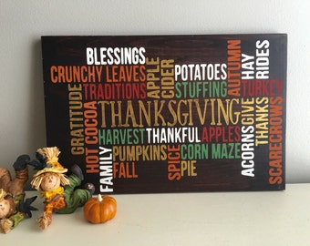 Thanksgiving Wood Sign - Fall Home Decor - Fall Wood Sign -  Fall Decor - Thanksgiving Home Decor - Fall Decor Signs
