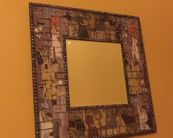 Wedded Bliss, large mosaic mirror, mixed media mosaic, large mirror, whimsical mirror