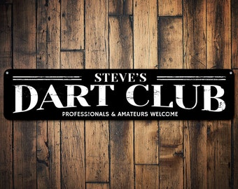 Dart Club Sign, Personalized Gamer Name Man Cave Sign, Professionals & Amateurs Welcome Game Room Decor - Quality Aluminum ENS1001403