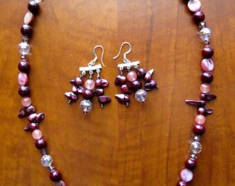 Pink Burgundy Necklace Set