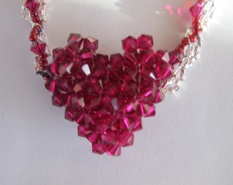 Ruby Heart Necklace Set