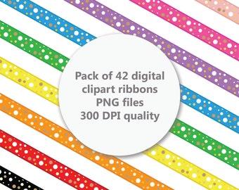 Digital Ribbons Polka Dot, Ribbon Clipart, Digital Clipart, Digital Scrapbooking, Scrapbooking Clipart, Instant Download, Commercial Use