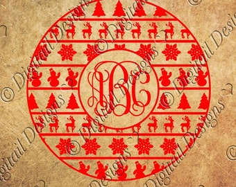 Large Christmas Monogram Frame Svg, Png, Dxf, Eps.