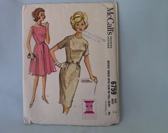 Vintage McCall's Dress Pattern 6759, Size 16, in 2 Versions