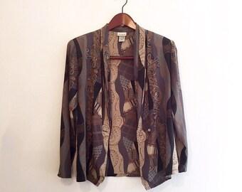 vtg 80s AVANT GARDE & paisley blouse cardigan s/m