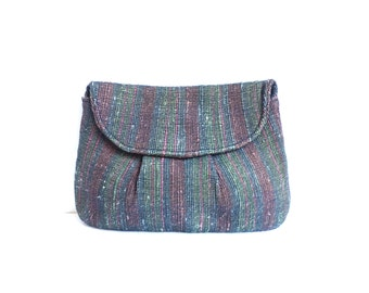 tapestry clutch, striped woven fabric clutch bag, 60s evening bag, 1960s mad men purse, tapestry bag, blue green pink brown