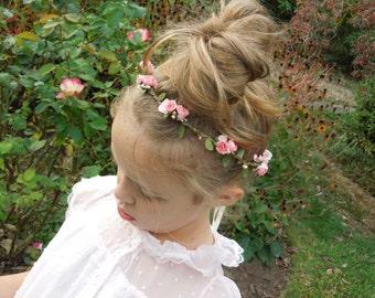 Flower Crown, Coral Peach and Golden Hair Wreath, Flower Girl Halo, Hippie Hair Crown, Paper Rose Flower Crown, Flower Girl Crown