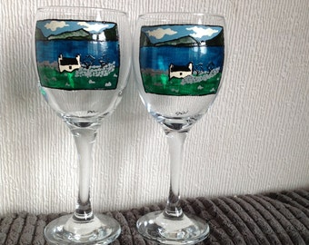 Landscape/ Building Painted Wine Glasses Personalised