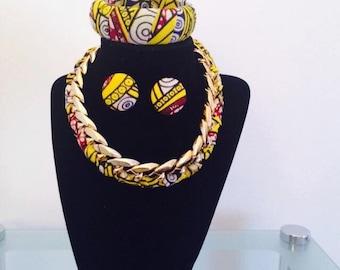 Braided Ankara Necklace set