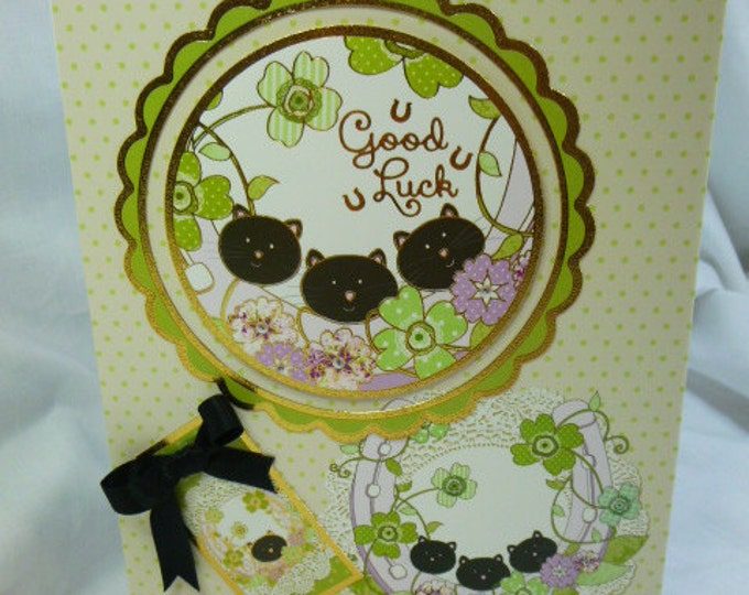 Greeting Card, Any Occasion, Good Luck Card, Engagement, New Job, Horse Shoes, Black Cats, Flowers,Male or Female,