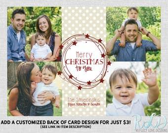 Merry Christmas To You Stars and Polka Dots Holiday Card With 4 Photos Digital Printable File