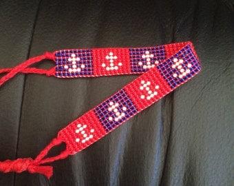 Beaded Anchor Friendship Bracelet: Red, White, and Blue