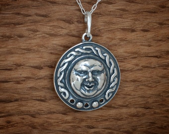 Celtic Moon Face Pendant - STERLING SILVER- Chain Optional