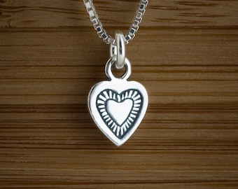 Heart -STERLING SILVER-Charm or Earrings - Chain Optional