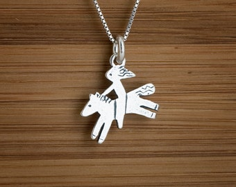 STERLING SILVER Pony Horse and Rider Charm or Earrings My ORIGINAL-Chain Optional