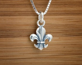 Fleur de Lis My ORIGINAL 3D Charm or Earrings - STERLING SILVER-  Chain Optional