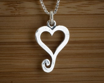 Spiral  Heart Charm or Earrings - STERLING SILVER- Chain Optional