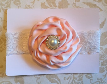 Light pink rose flower headband with rhinestone pearl center