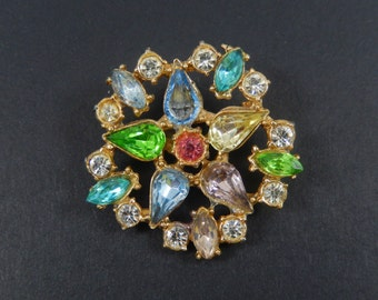 Vintage Rhinestone Circle with Flower Inside Brooch Pin