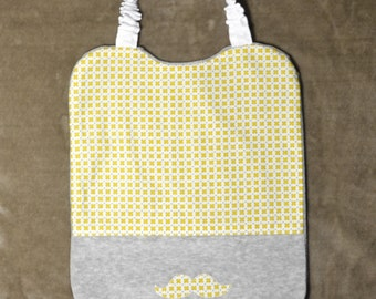 Elastic bib in grey and yellow cotton
