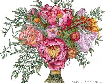 Peonies & Roses - MOUNTED, Fine Art Print