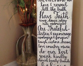 Rustic Home Decor, Country Home Decor, Wooden Signs, Wood Sign, Home Decor, In This Home We Sign, Wedding Gift, Anniversary Gift