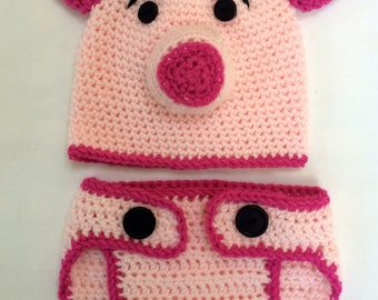Piggy Hat & Diaper Cover/ Pig Photo Prop