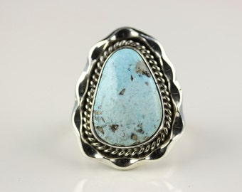 Native American Navajo Sterling Silver Turquoise Ring Size 6 By Samuel Yellowhair