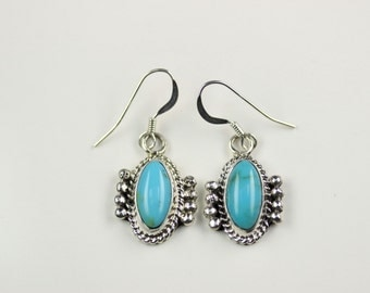 Native American Indian Jewelry Handmade Sterling Silver Turquoise Dangle Earrings