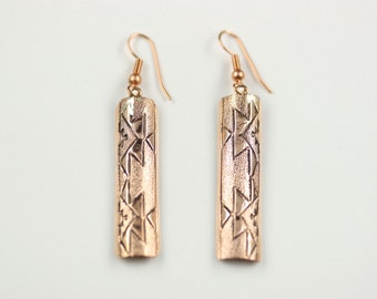 Native American Navajo Copper Dangle French Hook Earrings