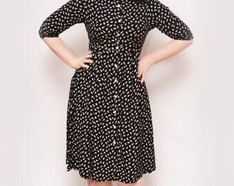 Vintage 80s does 50s Leaf Dress - Medium, Leaf Collar, Curvy, Boho, Leaves