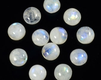 6.40 Ct. /1 Pc. Of Rainbow Moonstone Gems Blue Fire Cabochons 9 To 10 MM  Moonstones Jewelry Making Supplies Semi Precious Loose Gemstone