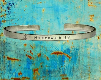 "Anchor Hebrews 6:19 - Cuff Bracelet Jewelry Hand Stamped Distressed Look 1/4"" Wide Organic, Smooth Texture Copper Brass or Aluminum"