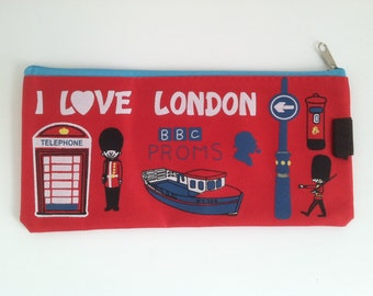 I Love London Pencil Zip Pouch Red