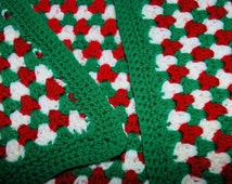 Vintage Crocheted Christmas Afghan / Throw / Lap Blanket / Acrylic Yarn / 67x49 / Christmas Colors - Red Green Ivory / Holiday Blanket