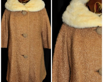 Vintage 1950's  Boucle Wool Swing Coat / Size Med-LG / Franklin Simon NY / White Fox Collar / Satin Lined