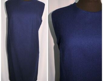 Vintage 60's 70's Blue Wool Shift Dress / Sheath Styling w/ Metal Zipper / Size Medium-Large / Fully Lined