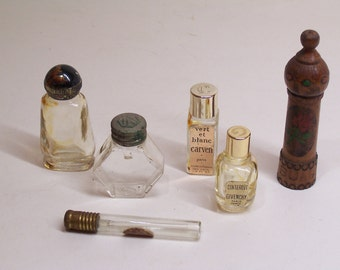 vintage small perfume bottles, set of six