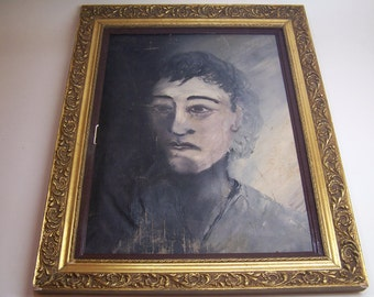 vintage original framed oil painting, a man's portrait