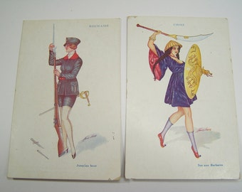 8 antique french postcards by Xavier Sager / A. Noyer - female soldiers